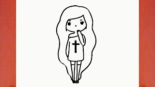 Como desenhar uma Bonequinha Tumblr (boneca, garota, menina) - How to Draw a Girl Tumblr (doll)