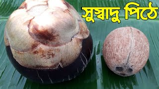 Delicious Food Recipe !! Palm Coconut Cake_Recipe !! Taler Narkel Pitha !! Narikel Pitha !! Pithe !