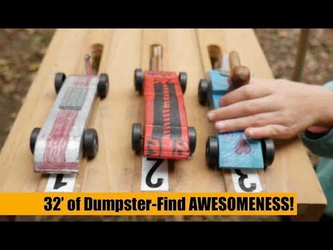 Awesome Dumpster Dive Find! 32' Long Pinewood Derby Track (Cub Scouts)