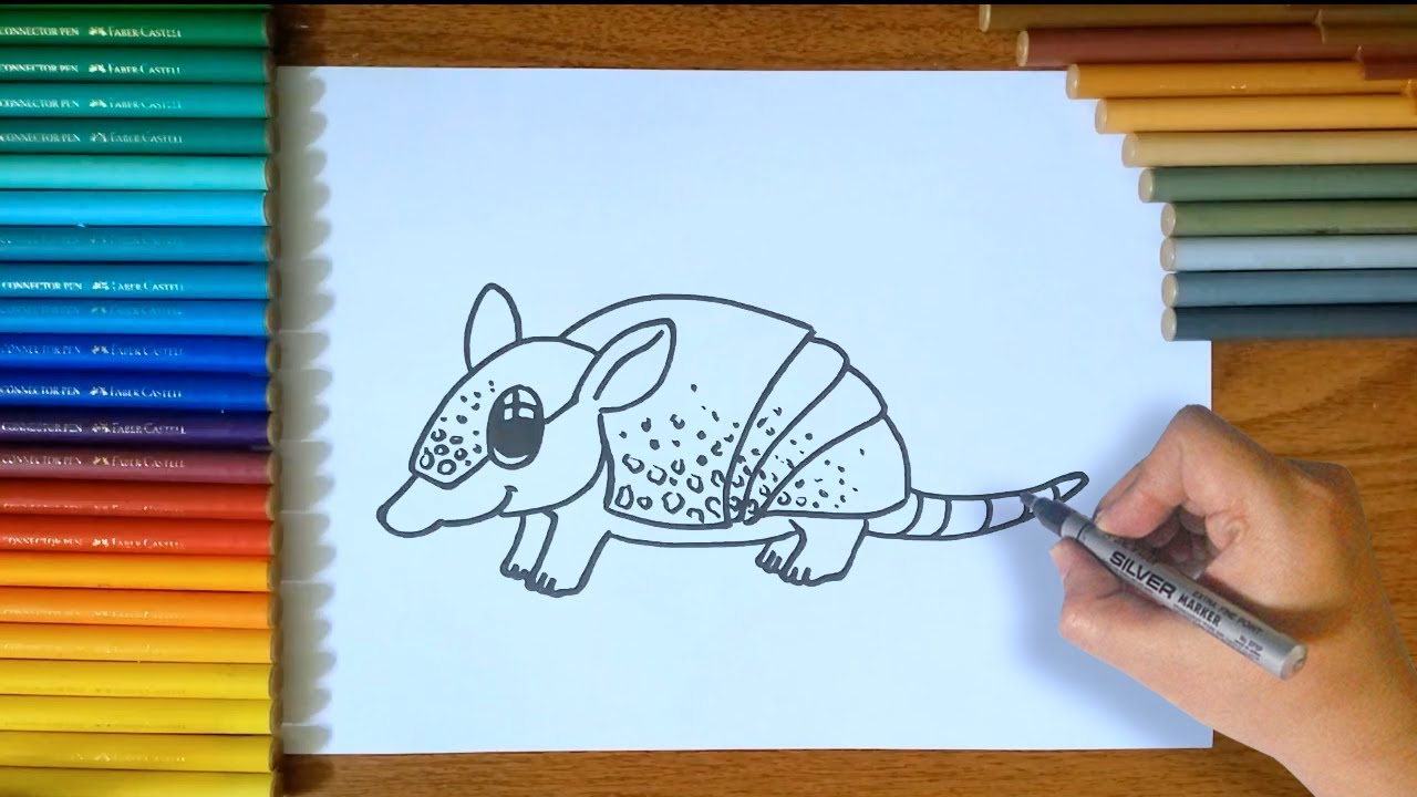 how to draw an armadillo # 22
