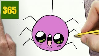 HOW TO DRAW A HALLOWEEN SPIDER CUTE, Easy step by step drawing lessons for kids