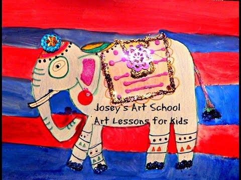 Joseys Art School Episode #93: India Inspired Elephants Art Lesson for Kids