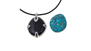 Colleen Lopez Turquoise and Onyx Pendant w/Cord thumbnail