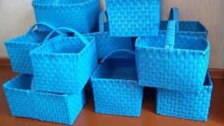 Плетение корзины  из полипропеленовой ленты своими руками