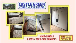 Wall Bed Castle Green HWB® -Single X2+ Top & Side Storage Cabinets.HWB HUB.BTO.EC.DBSS