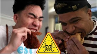 HOTTEST BURGER IN THE WORLD PRANK ON RICEGUM AND WOLFIERAPS (CAROLINA REAPER PEPPER)