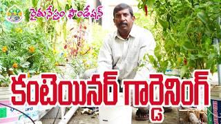 Container Gardening    Bucket Gardening   Rythu Nestham  Roof Gardening