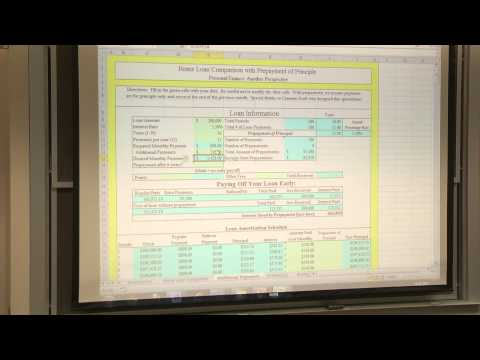 Lesson 10: The Housing Decision 1: Basics and Choosing A Mortgage Loan Spreadsheet (2013)