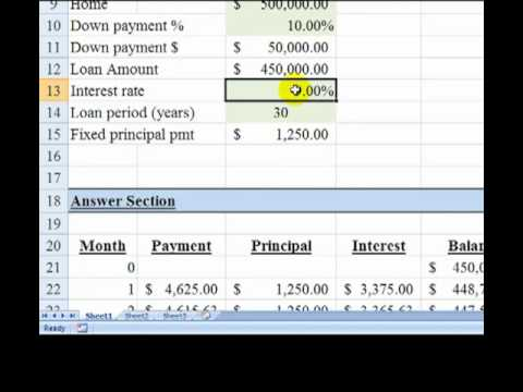 fixed principal amortization schedule part 1 youtube