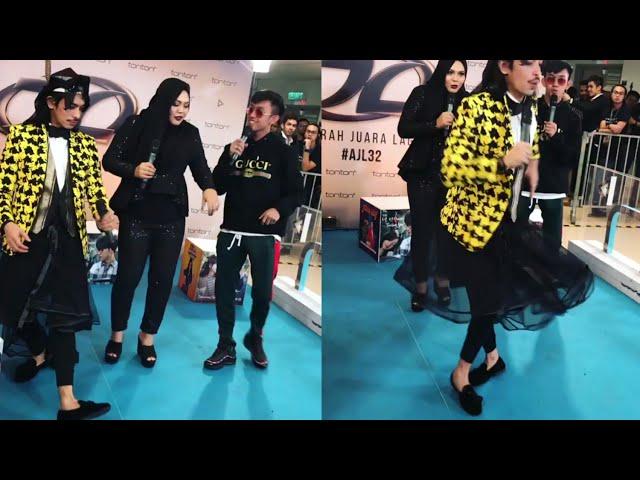 Iqram Dinzly menari Panama Dance dengan Ismail Izzani & Zulin Aziz @ backstage AJL32