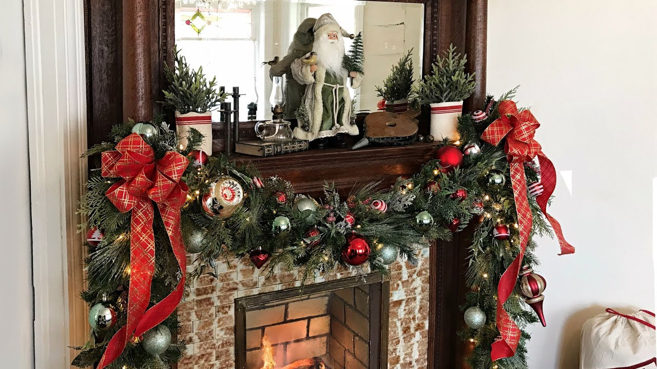 How To Decorate A Mantel For Christmas - Christmas Mantel Garland - Christmas Fireplace Decorating