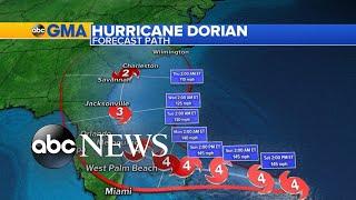 Hurricane Dorian heads toward the East Coast