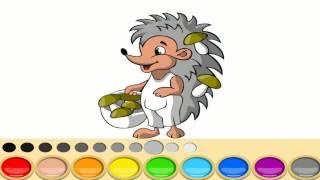 Ёжик Раскраска, раскрашиваем ежика в разные цвета