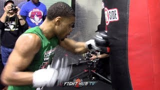 ERROL SPENCE JR WORKING BODY COMBINATIONS ON HEAVY BAG ONE WEEK AWAY FROM MIKEY GARCIA FIGHT