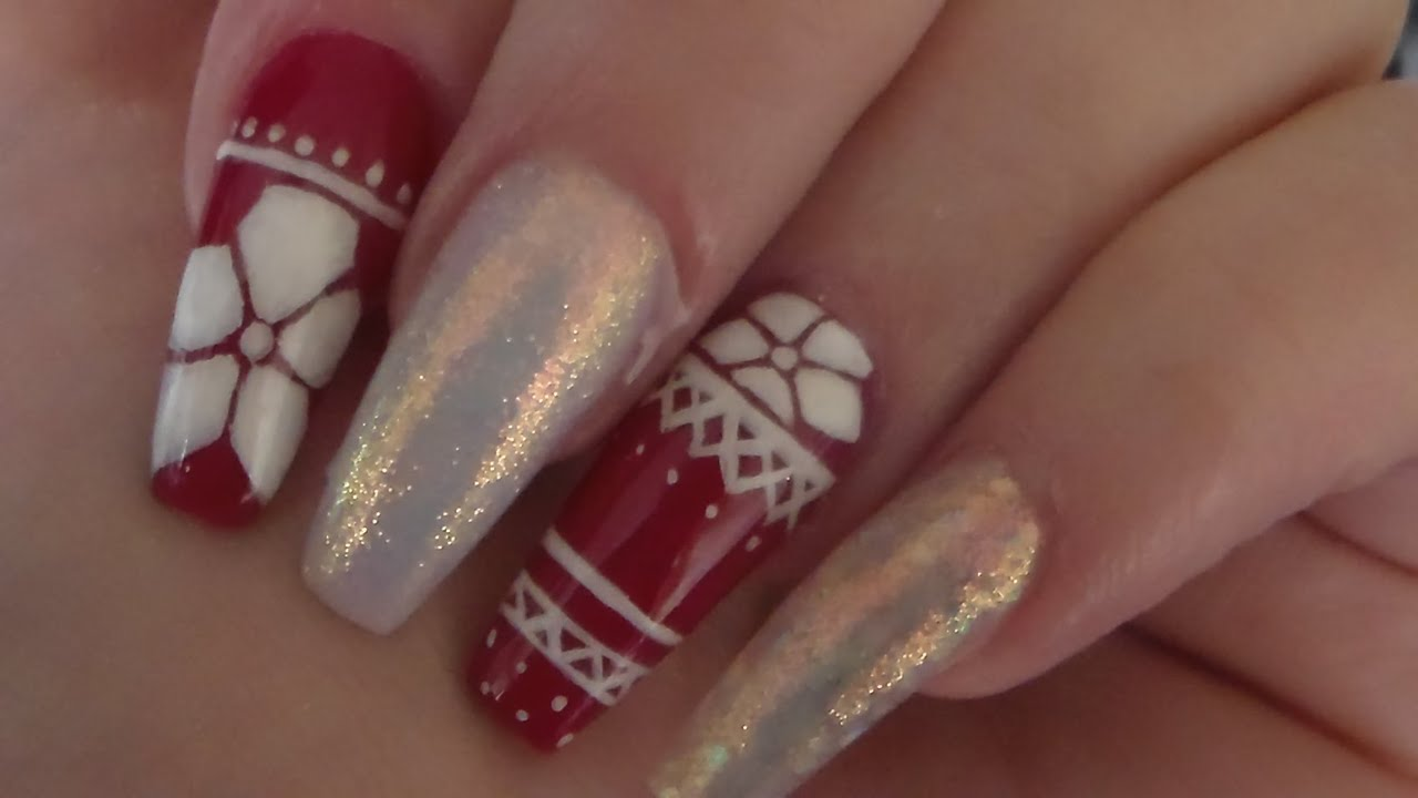 Acrylic Nails | Hand Painted Christmas Sweater | Nail art - YouTube