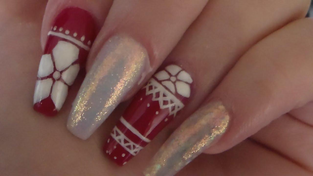 Acrylic Nails | Hand Painted Christmas Sweater | Nail art ...