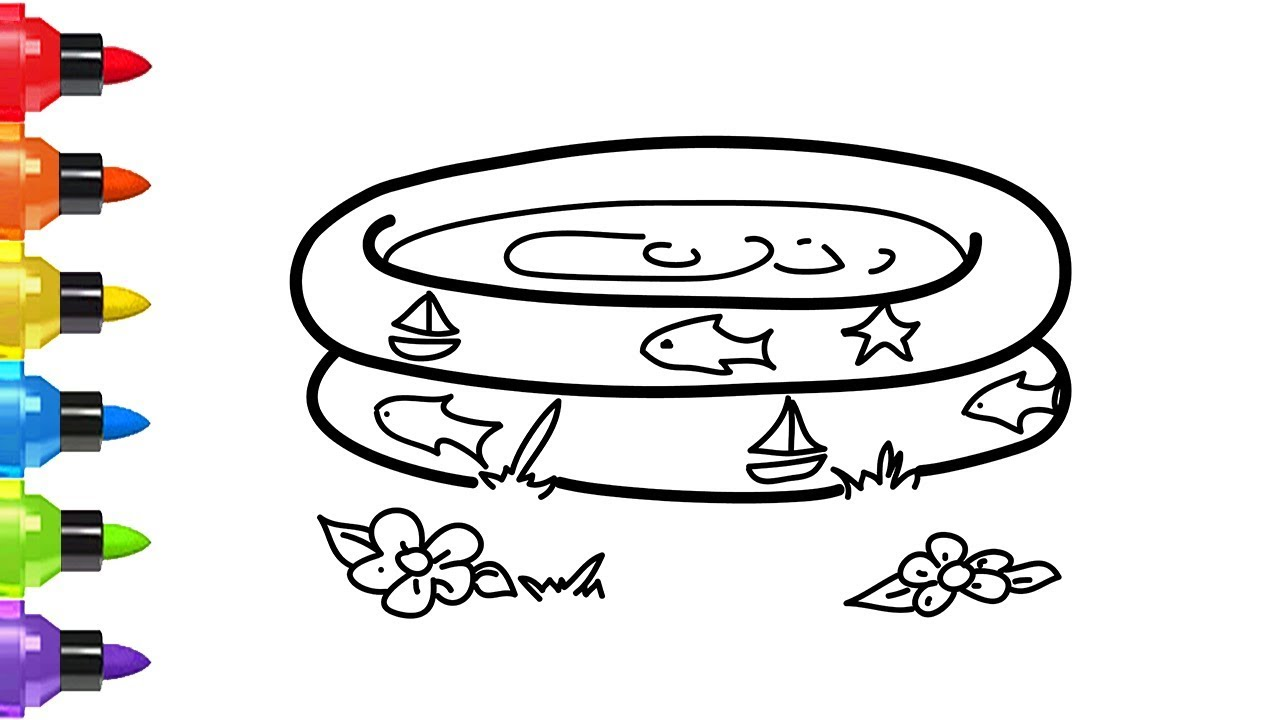 Alberca Para Colorear: How To Draw A Paddling Pool For Kids