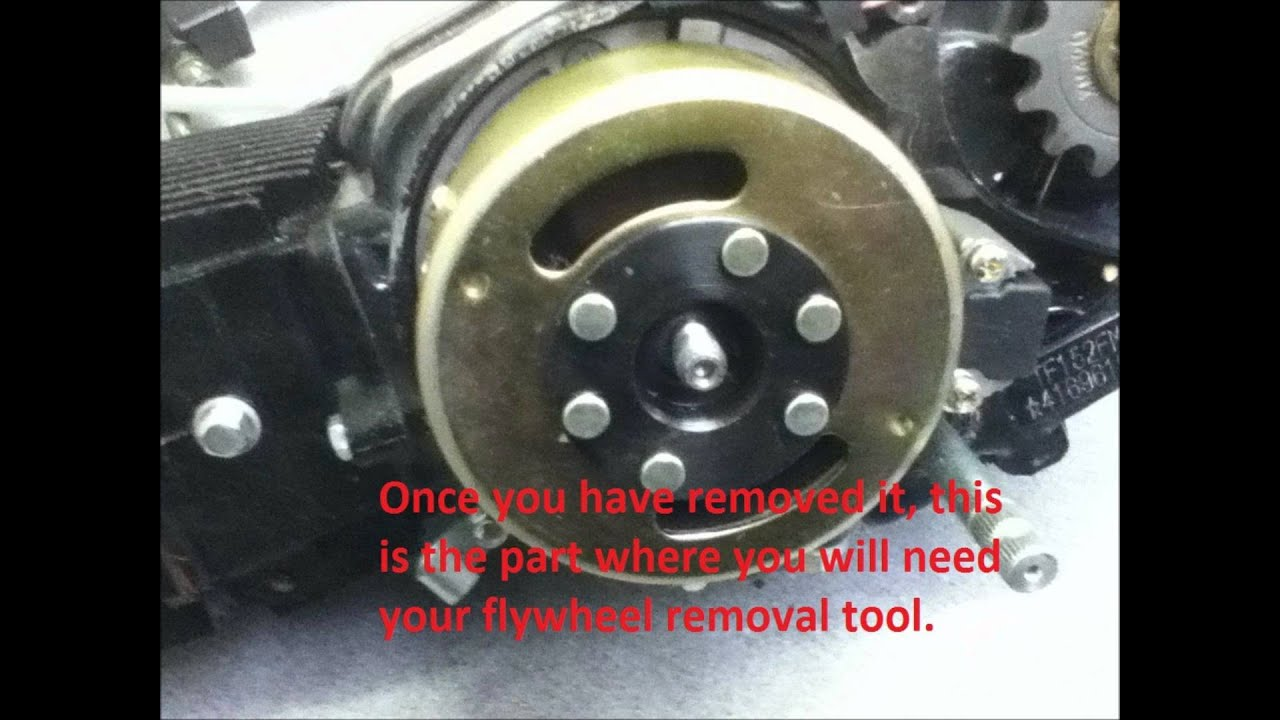 150cc quad bike wiring diagram yamaha g9 electric golf cart how to remove a stator plate on pitbike - youtube