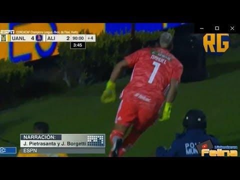 NAHUEL GUZMÁN ANOTA GOL HISTÓRICO | TIGRES VS ALIANZA FC | (espn)