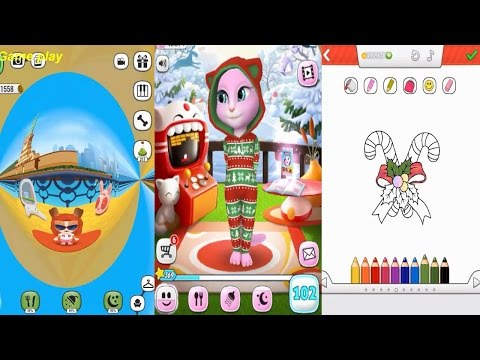 My Talking Angela VS My Talking Lady Dog  VS My Santa Claus Gameplay Great Makeover for Children HD