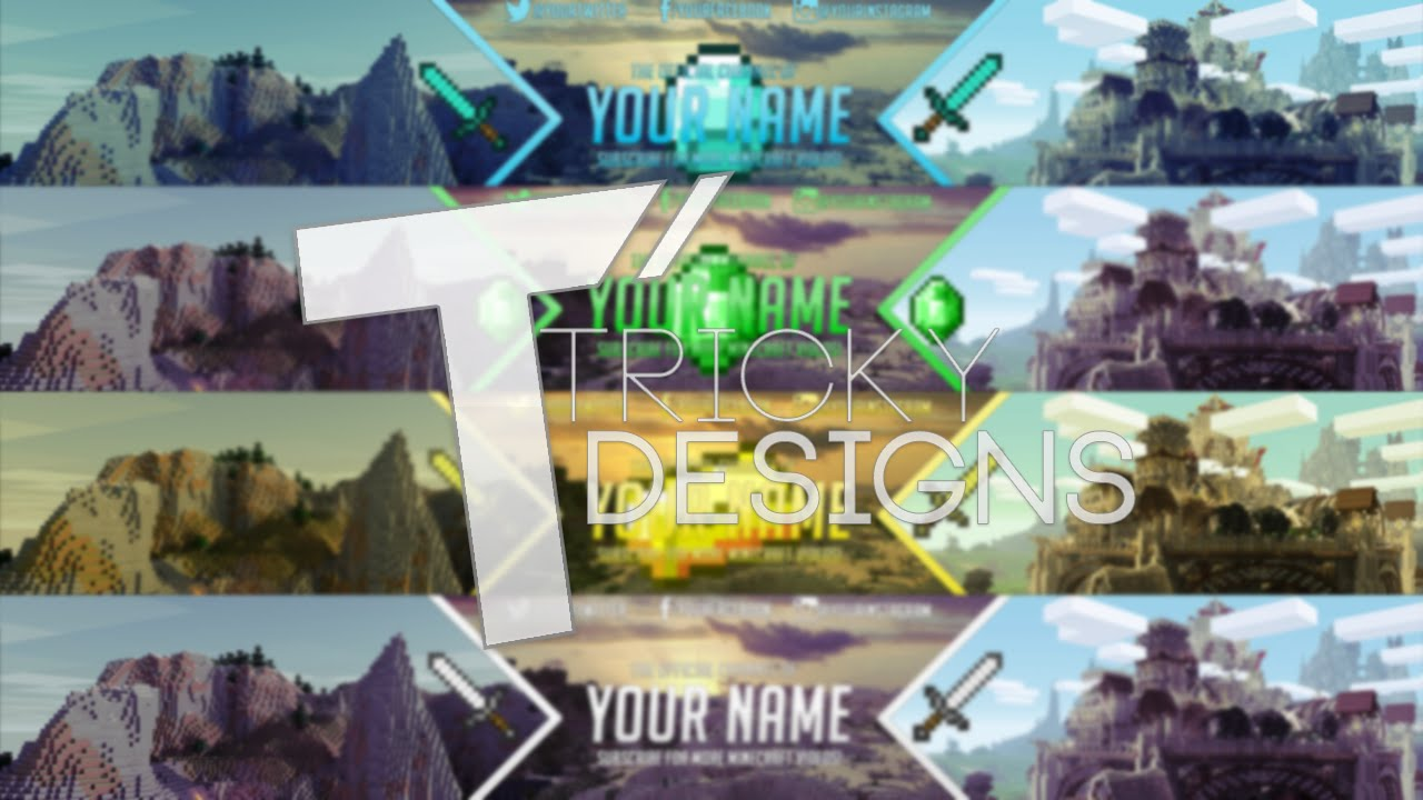 best free 2d minecraft youtube banner template profile picture fully customisable trickydesigns youtube