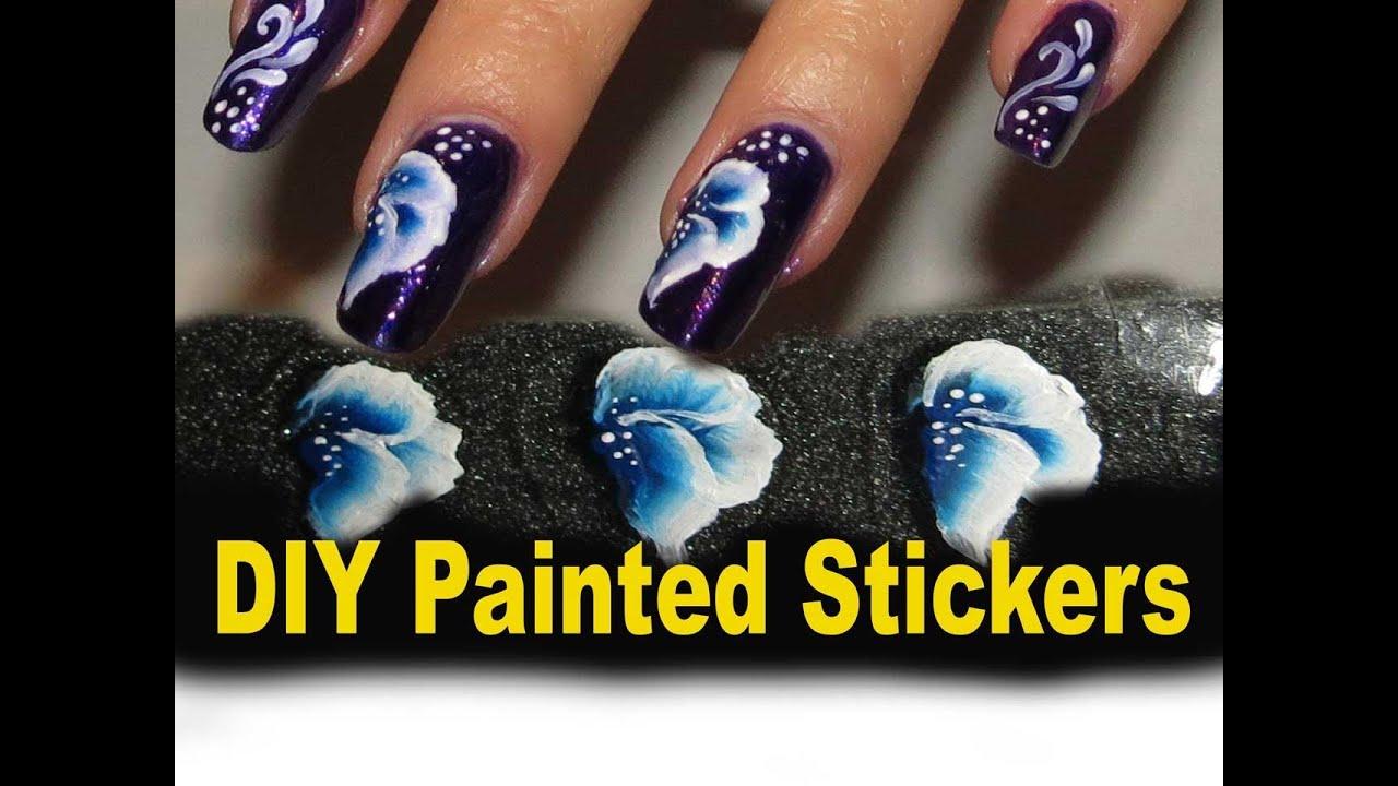 Diy Flower Stickers One Stroke Technique Youtube
