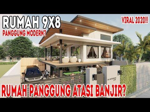 Desain Interior Rumah Panggung Minimalis  desain rumah panggung modern 9x8 dengan air terjun kolam koi