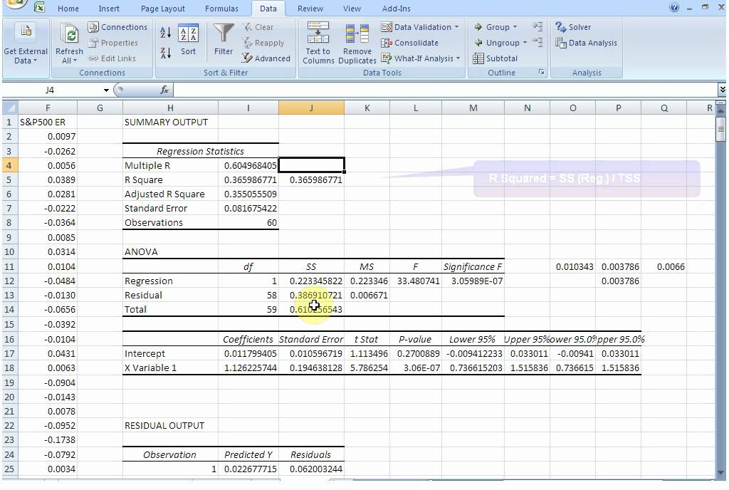 Implementing the Single Index Model in Excel - YouTube