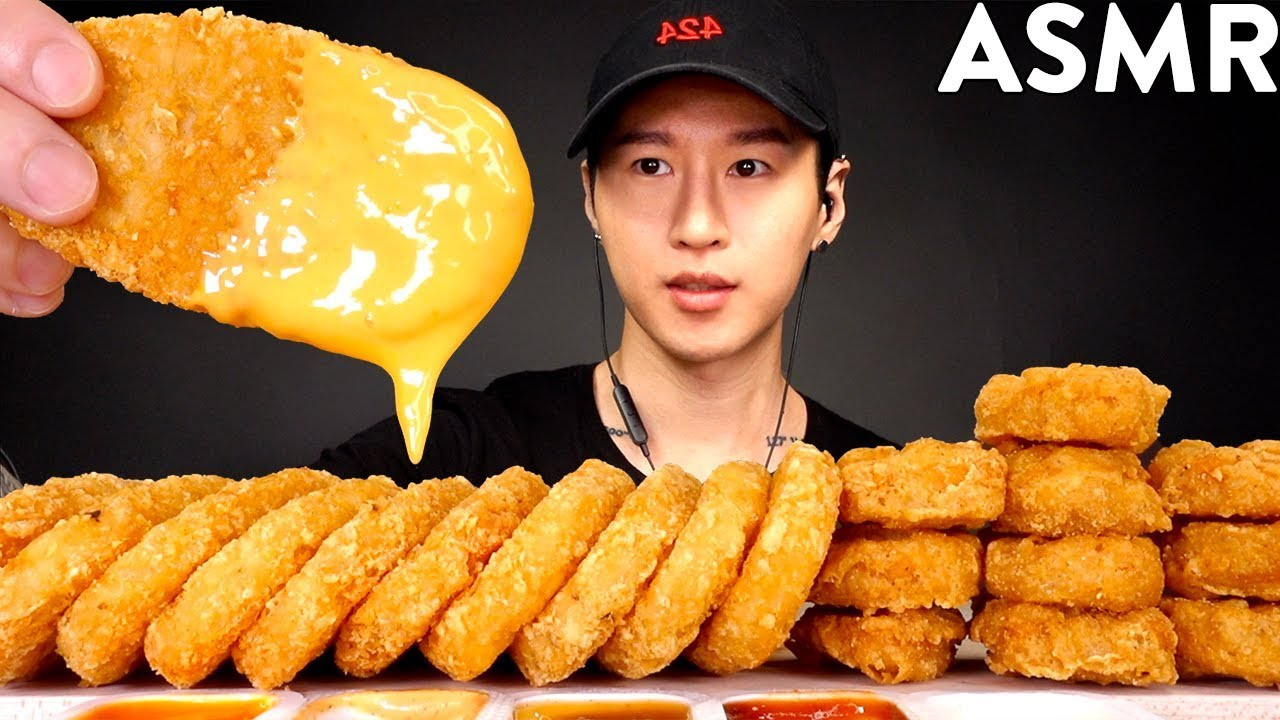Asmr Cheesy Hash Browns Chicken Nuggets Mukbang No Talking Eating Sounds Zach Choi Asmr