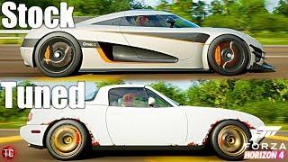 Forza Horizon 4: Stock vs Tuned! Koenigsegg One:1 vs Junkyard Miata!