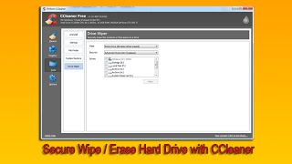 Secure Wipe / Erase Hard Drive with CCleaner