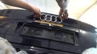 Как приклеить, китайскую эмблему, на багажник АУДИ А4.