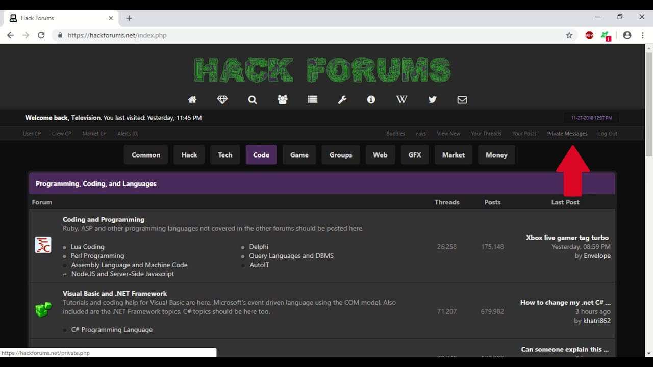How to send a private message on HackForums