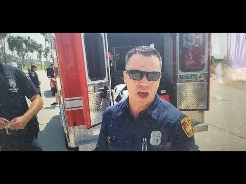 LAFD paramedic threatens to smash my camera if i do not stop recording firehouse 63 venice beach