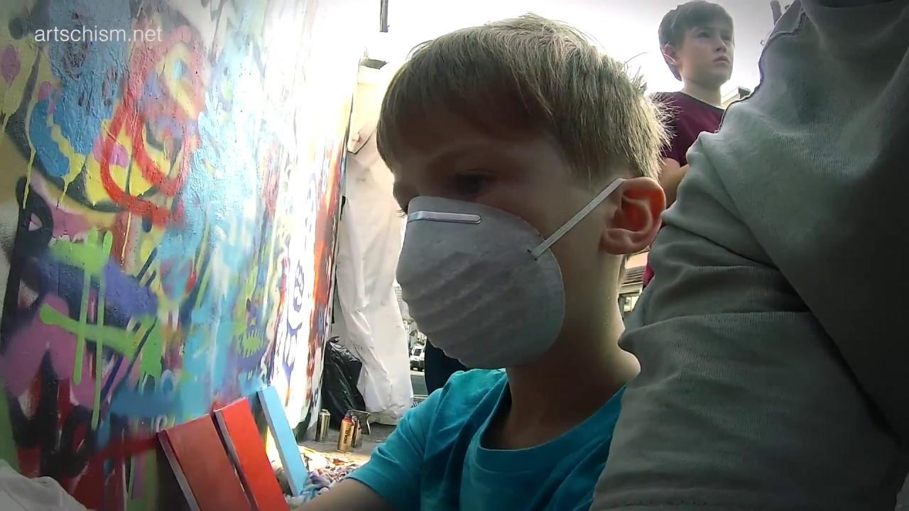 Spray painting class at Art Schism in Brighton run by Sinna1 - YouTube
