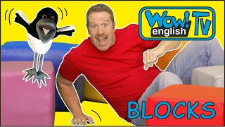 Blocks and Toys Playing with Steve and Maggie | Wow English TV