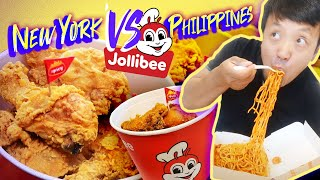 Eating ENTIRE JOLLIBEE MENU! JOLLIBEE New York VS. Philippines FOOD REVIEW
