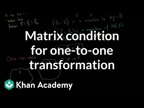 Matrix condition for one-to-one trans | Matrix transformations | Linear Algebra | Khan Academy