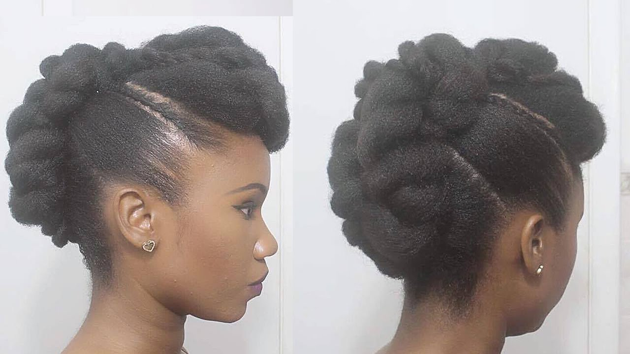 Twisted Mohawk Updo On Natural Hair Youtube