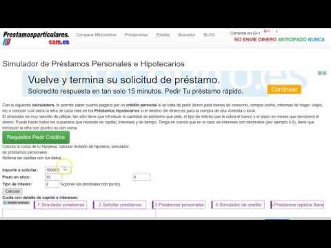 Видео Calculadora de prestamos personales con tabla de amortizacion