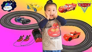 Disney Cars 3 Carrera battery operated slot race track with Lightning Mcqueen Dinoco Cruz Ramirez