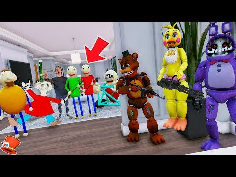 ALL BALDI'S CHARACTERS ARE IN THE ANIMATRONICS HOUSE! (GTA 5 Mods FNAF Kids RedHatter) thumbnail