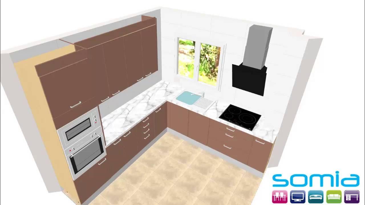 Diseño 3D Mueble Cocina a medida Valencia con varias combinaciones ...