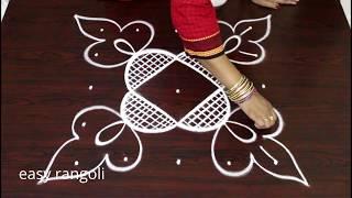 beautiful kolam with 5 dots* easy & simple rangoli designs *chukkala muggulu *how to draw rangavalli
