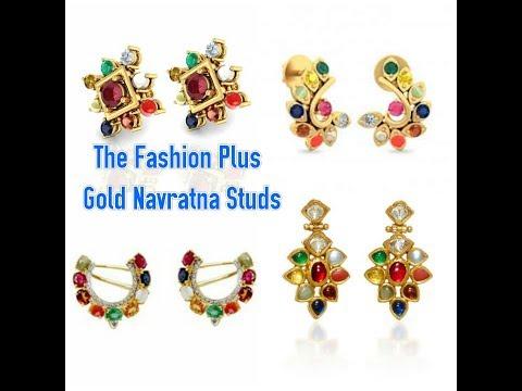Gold Navratna Ear Studs/Earrings Designs