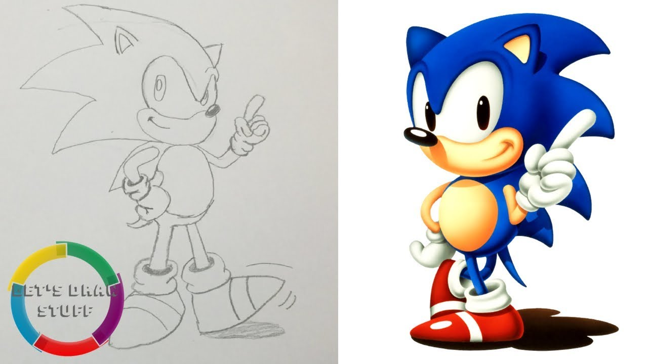 How To Draw Classic Sonic The Hedgehog Youtube