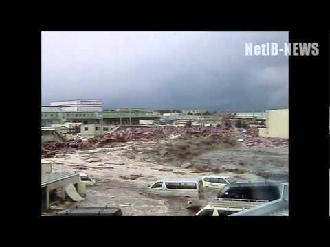 津波の恐怖、濁流に飲まれる工場