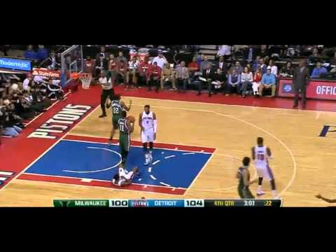 Brandon Jennings flop fine: Milwaukee Bucks at Detroit Pistons