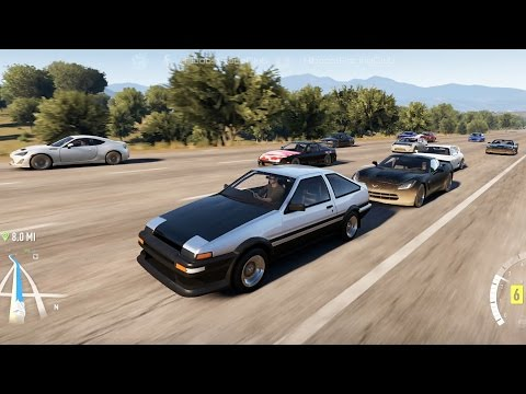 Forza Horizon 2 (XB1) | Street Fighters | Meet, Cruise, RB26 AE86 vs C7s, Supras, S13, Beetle & More