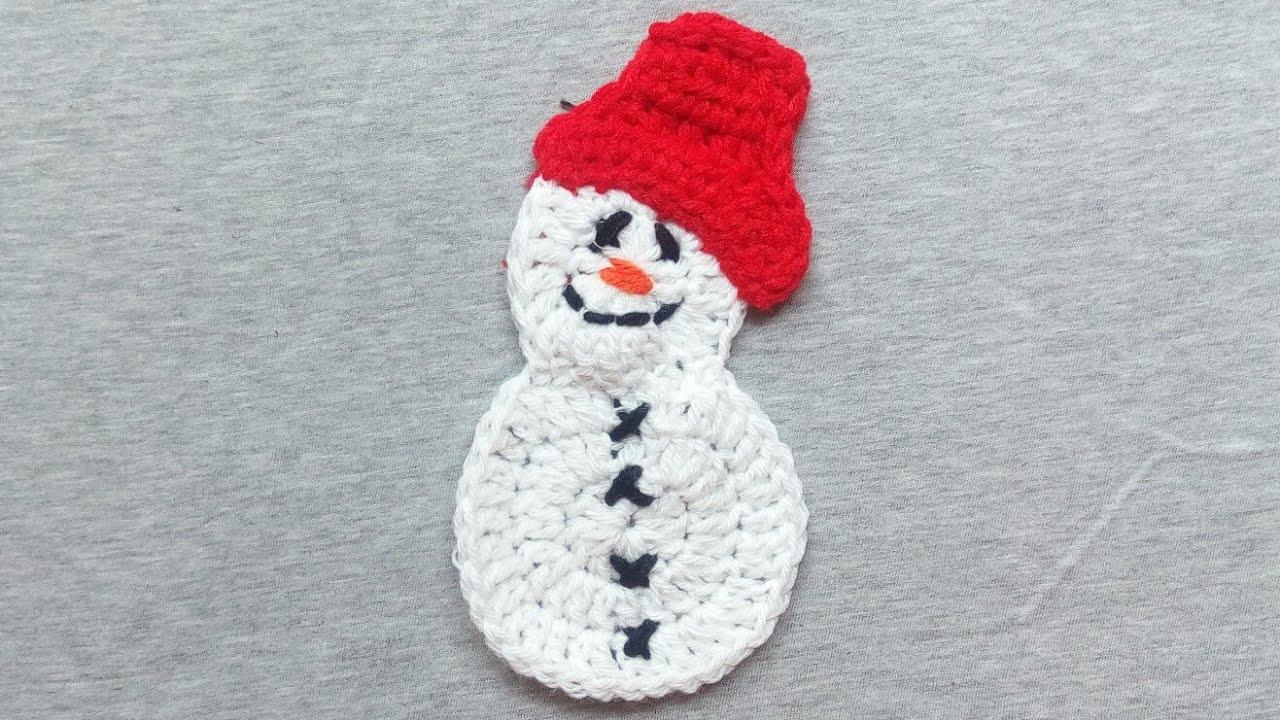 especially for you crochet snowman applique christmas and winter